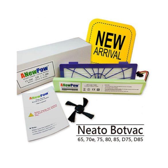 AP1272 Neato Botvac D sorozat 12V 7200mAh Li-ion akkumulátor-szűrő-oldalkefe készlet